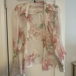 Escada floral print button up blouse